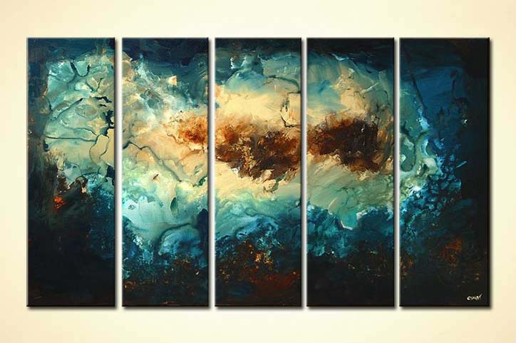 Multi Panel Canvas Abstract Blue And Brown Zoom The Beach Modern Artwork Thumbnail