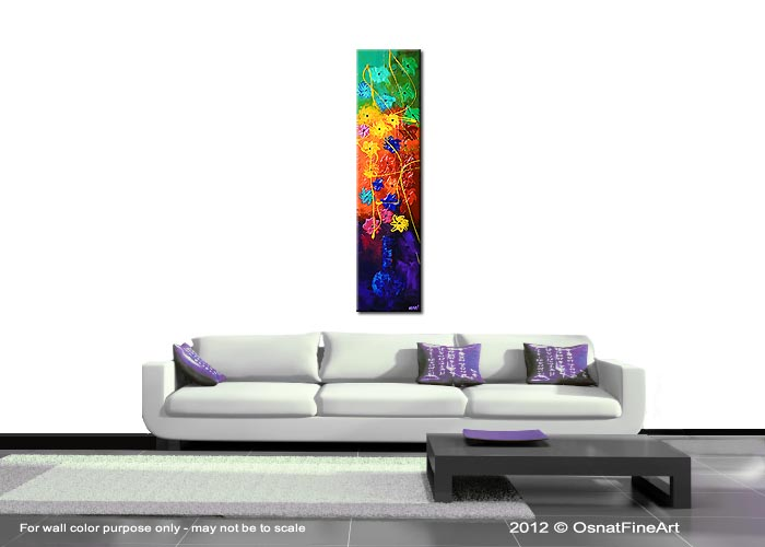 Narrow Vertical Wall Decor : Landscape painting narrow vertical floral