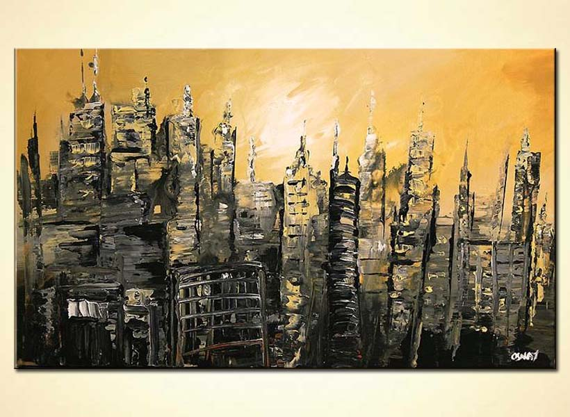 abstract cityscape in ruins