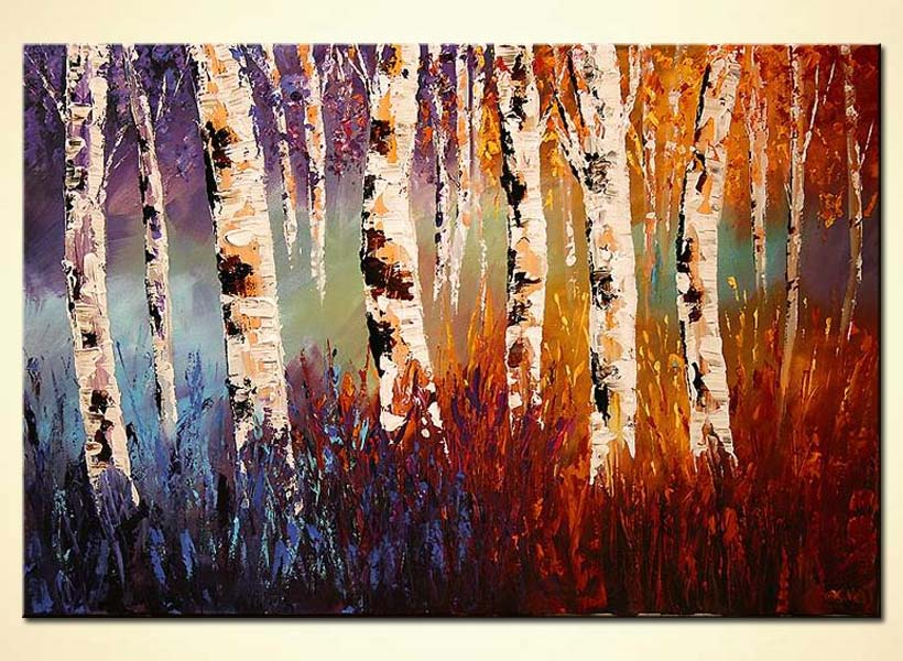 colorful forest of birch trees