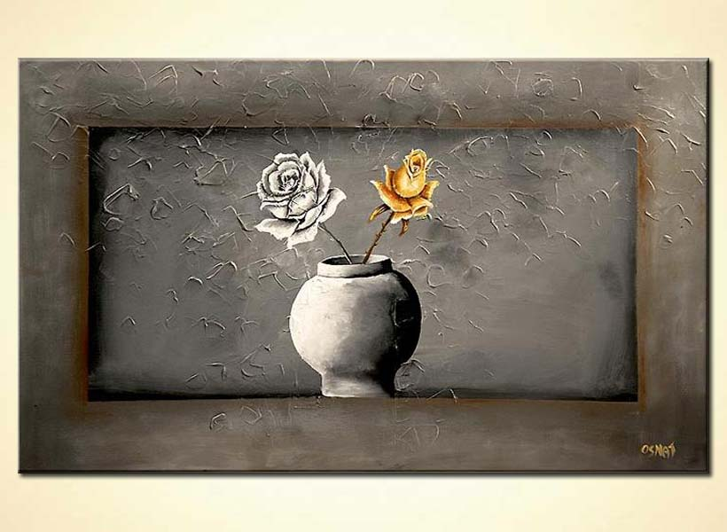 gray vase with 2 roses gray background