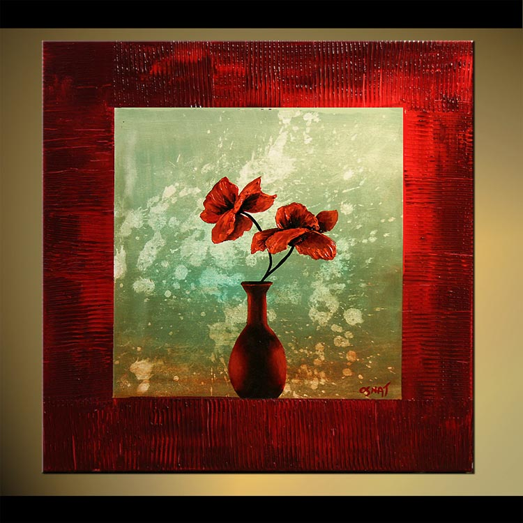 Painting Red Vase And Flowers In Red Frame 6921