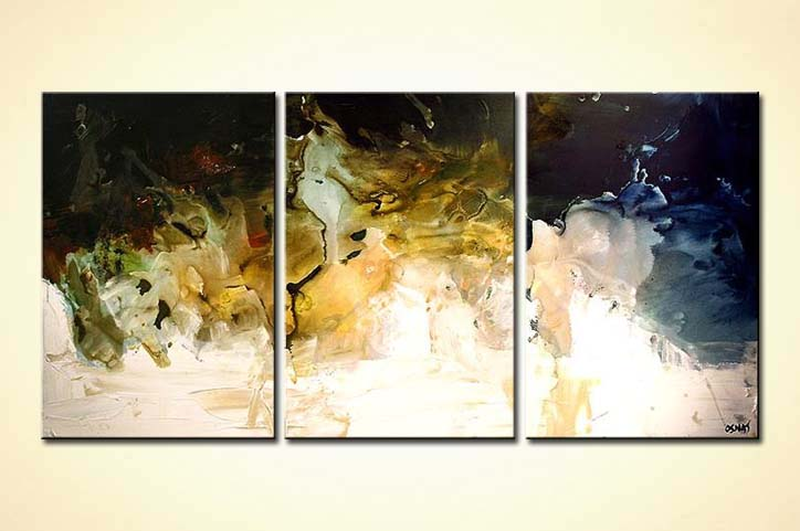 Painting Seaside Heights Wall Decor Triptych Soft 5851