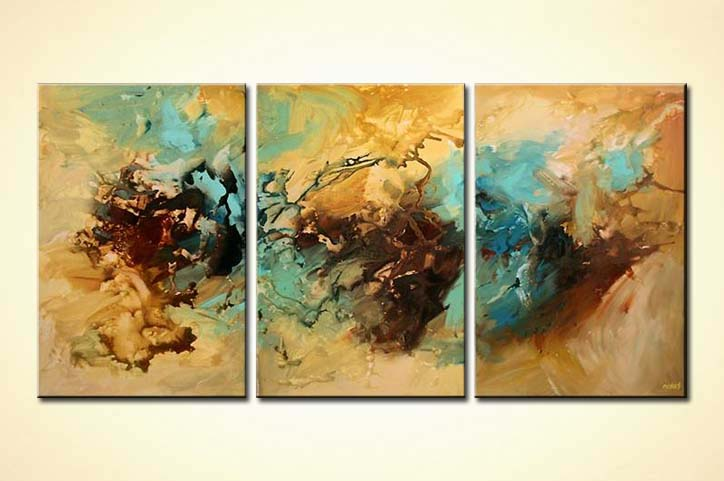 Abstract painting triptych abstract decor wall home soft for Abstract decoration