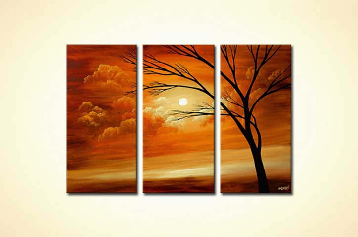beautiful sunset painting triptych tree sunshine