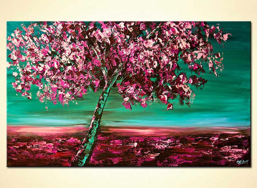 cherry blossom tree wall decor pink green