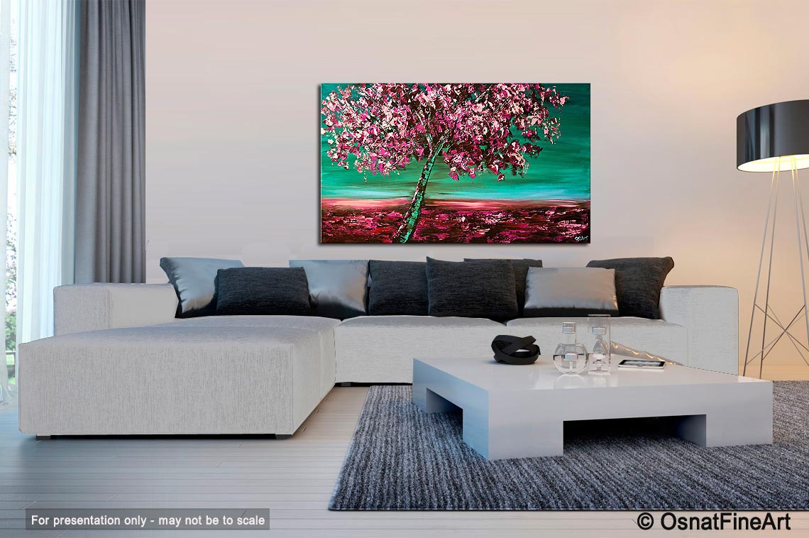 Painting - cherry blossom tree wall decor pink green #5893