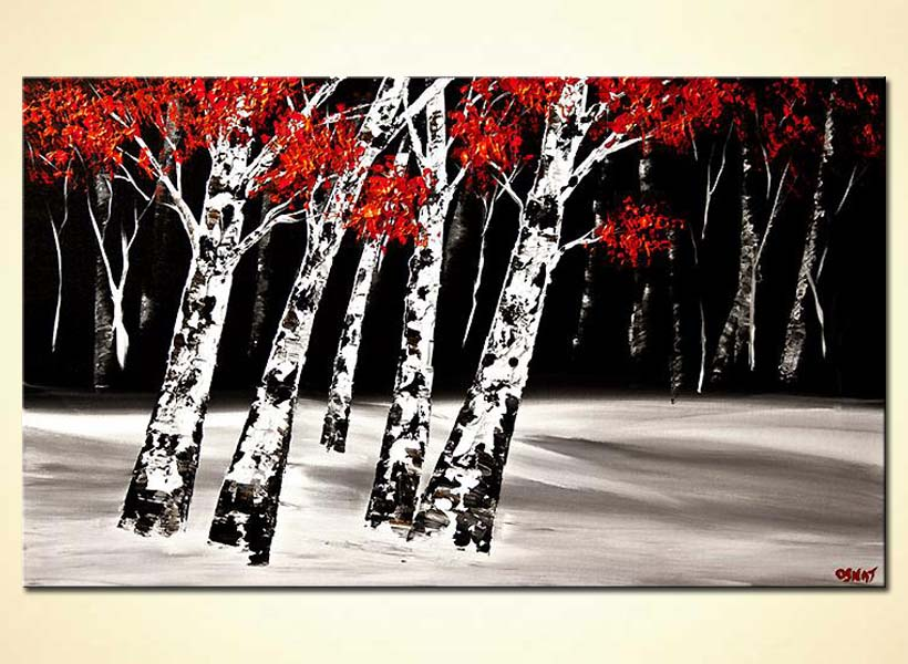 textured birch trees at night red white black
