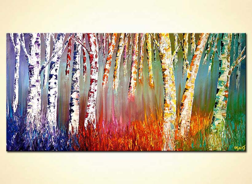 painting   textured painting birch trees colorful 5891