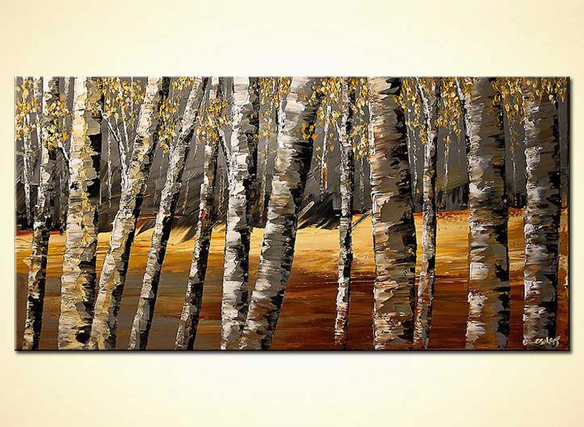 textured painting birch trees