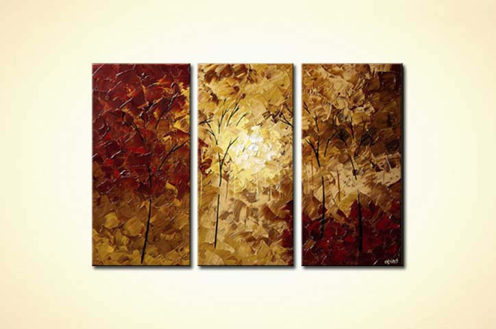 textured painting red forest