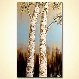 Abstract art by Osnat Tzadok - textured painting two birch trees