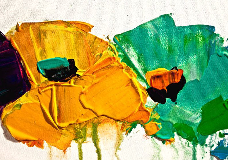 Painting Abstract Flowers On White Background Colorful 5901