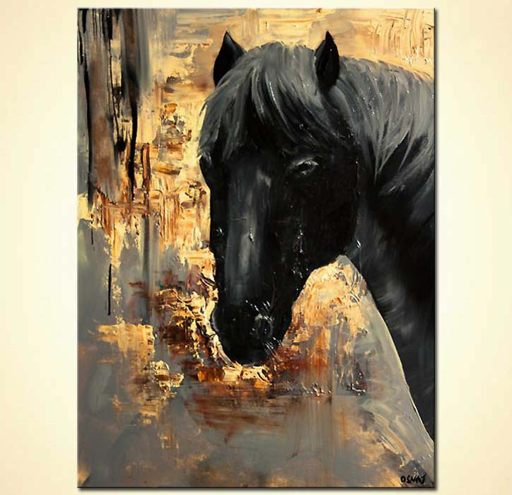 Painting abstract painting of black horse head 5918 for Abstract painting on black canvas