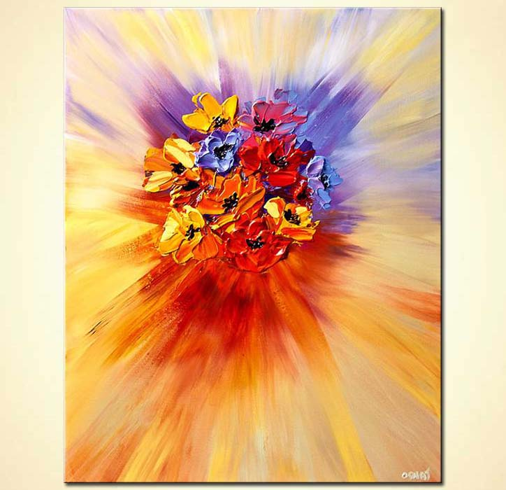 abstract painting of bunch of colorful flowers