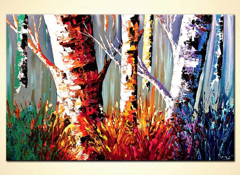 colorful tree trunks in forest