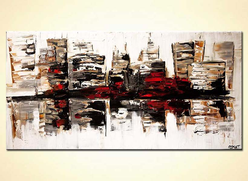 modern abstract art - City in White