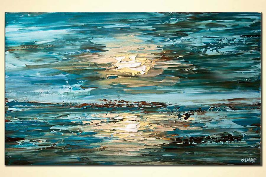 abstract painting of the sea sky blue