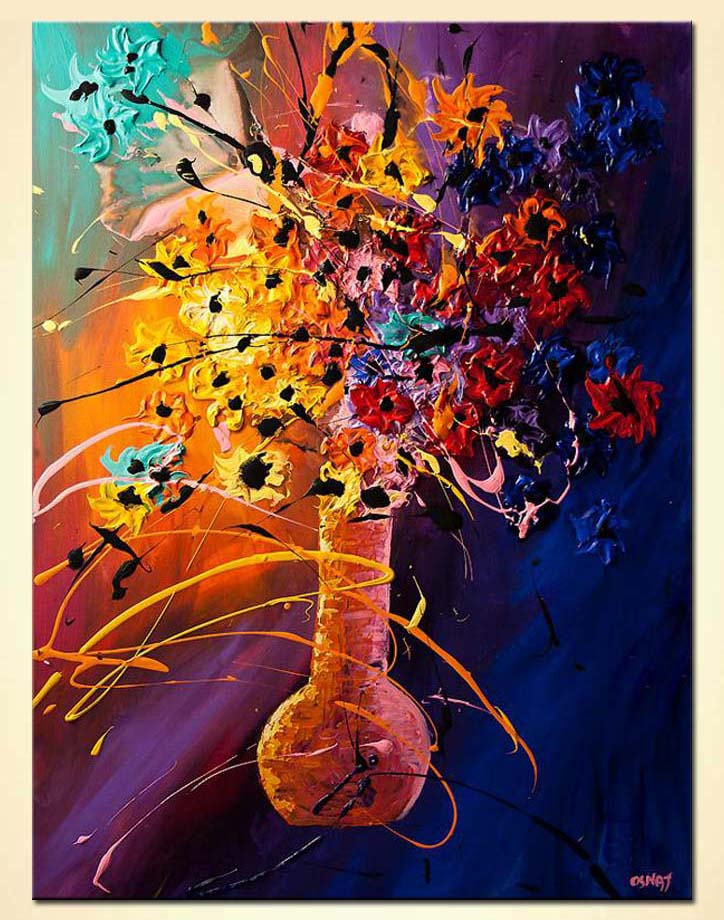 abstract painting of vase with colorful flowers