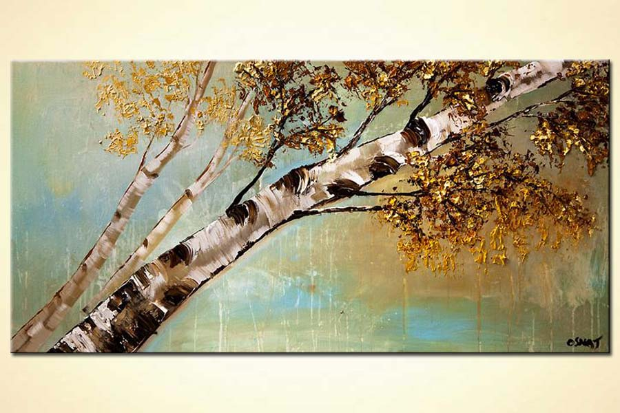 painting of birch tree reaching to the sky
