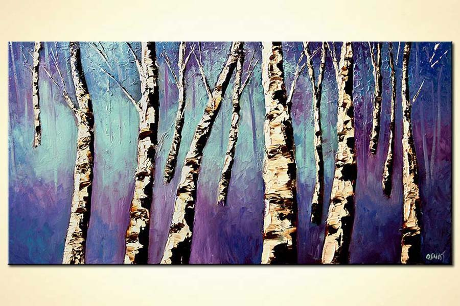 birch trees in purple forest