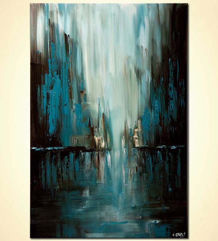blue abstract cityscape