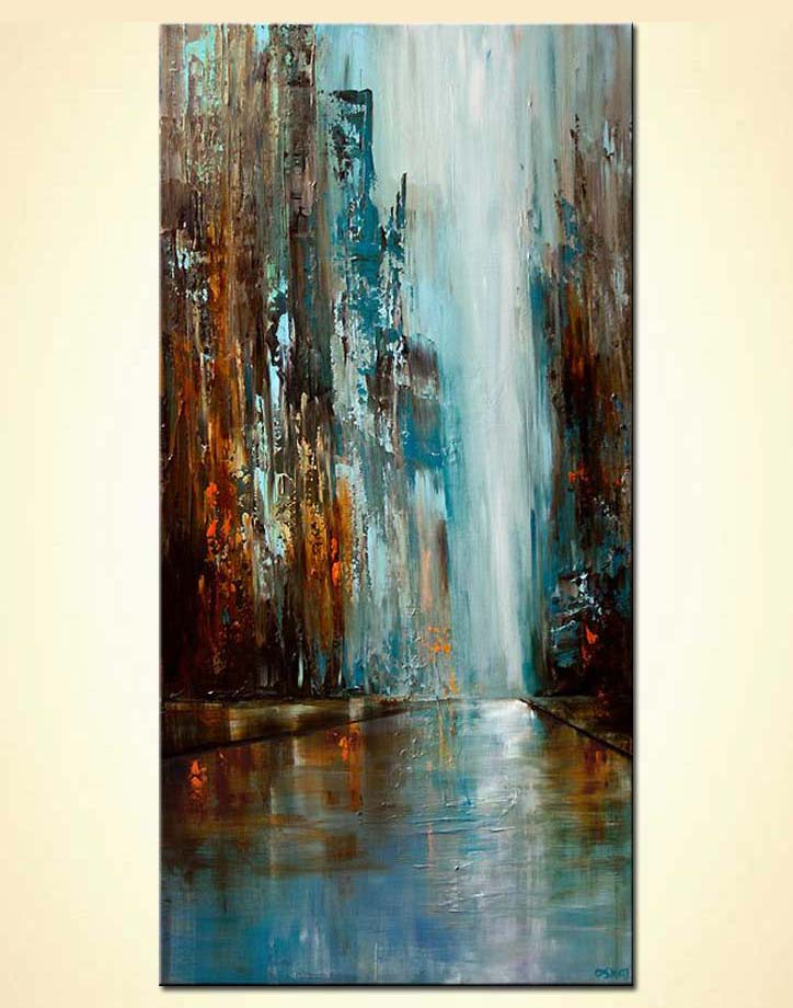 Painting blue and brown abstract cityscape 6024 for Modern abstract paintings for sale