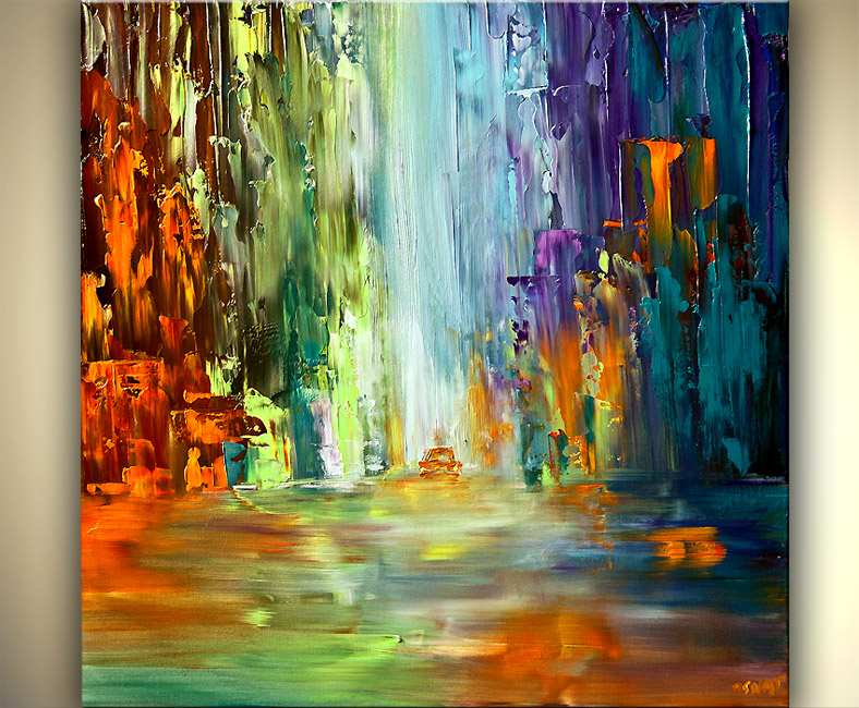 Painting colorful abstract cityscape large painting art for Sell abstract art online