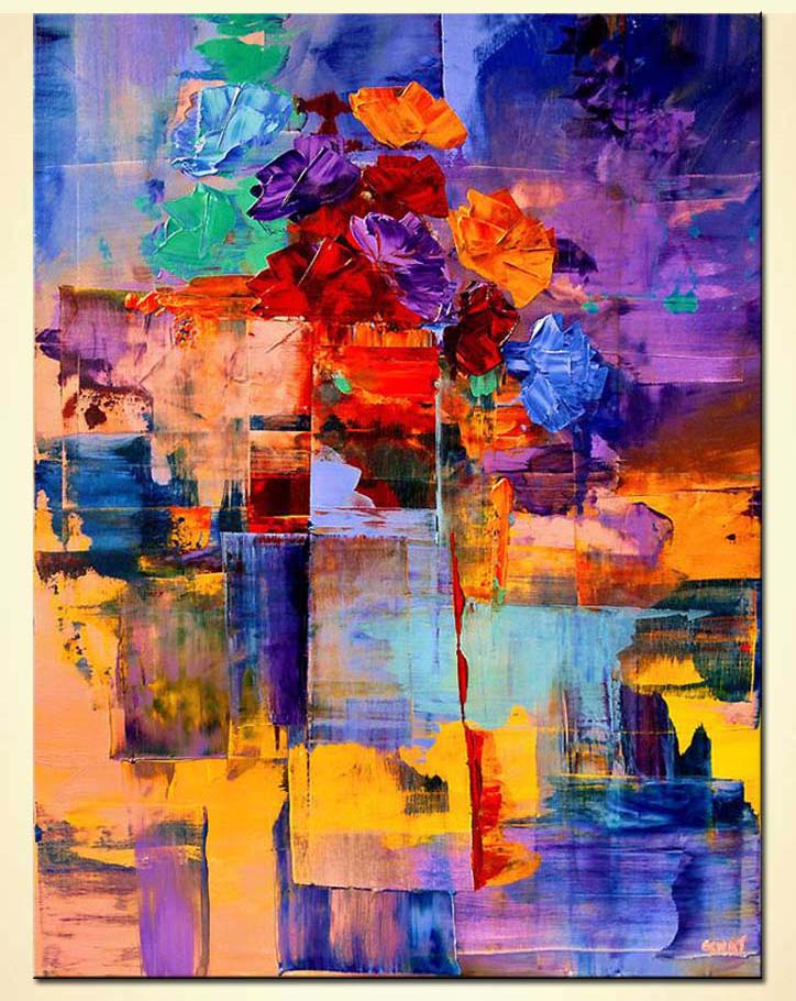 Painting Colorful Abstract Vase Vertical Large Floral 5934