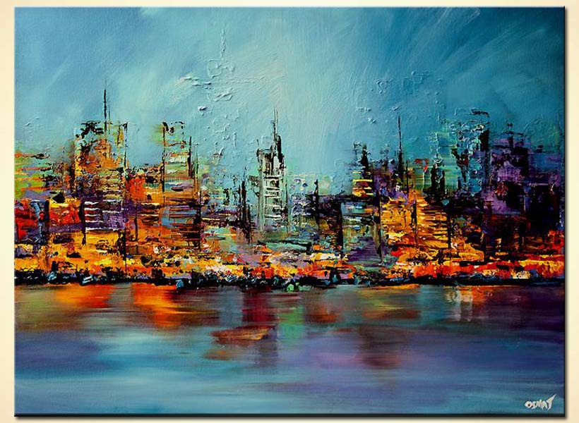 Painting colorful cityscape painting future city large 5964 for Large artwork for sale