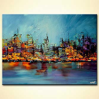 colorful cityscape painting