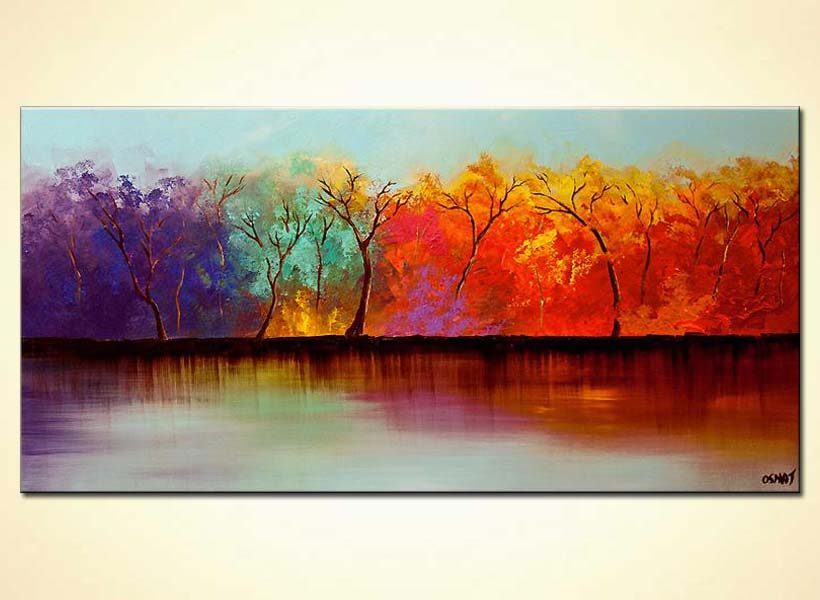 colorful forest on river bank