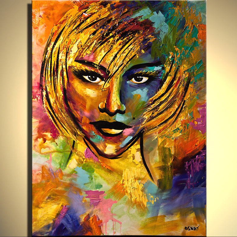 Painting for sale - colorful painting of blond woman face ...