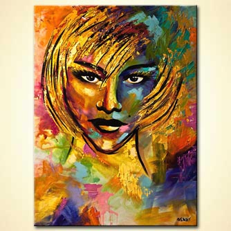 Abstract Painting Oil Portrait Contemporary Blond