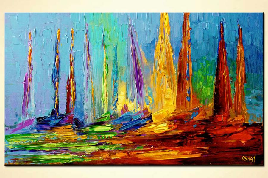 colorful sail boats on sea