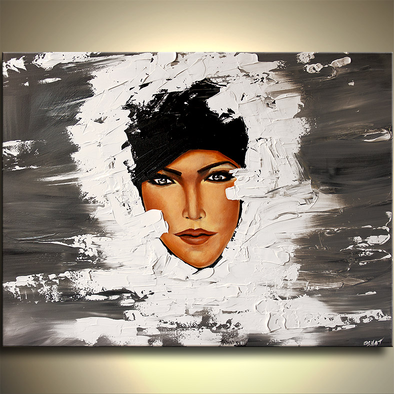 Painting - face of pretty woman in winter coat #6009