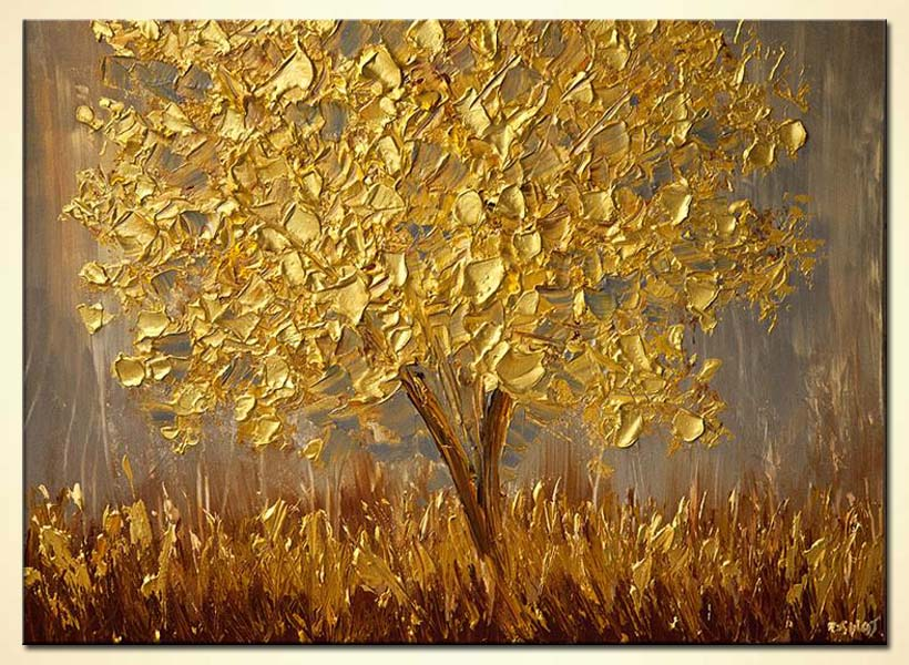 Painting golden tree painting 6087 for Gold paintings on canvas