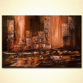 mixed media cityscape painting in gold