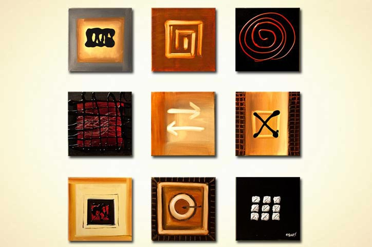 nine small panels of abstract signs