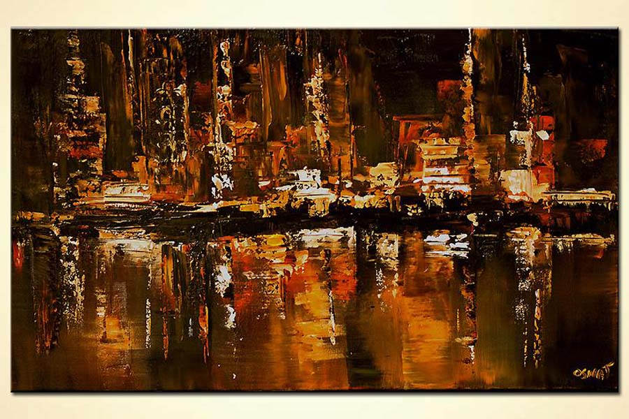 painting of cityscape reflected in the river