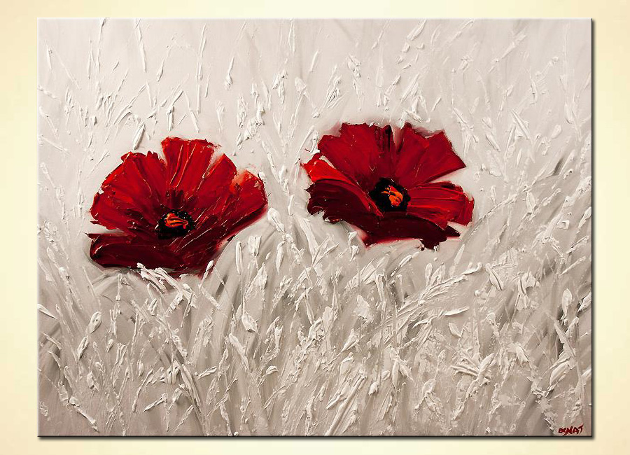 Painting red flowers painting on white background 6004 for Flower paintings on canvas