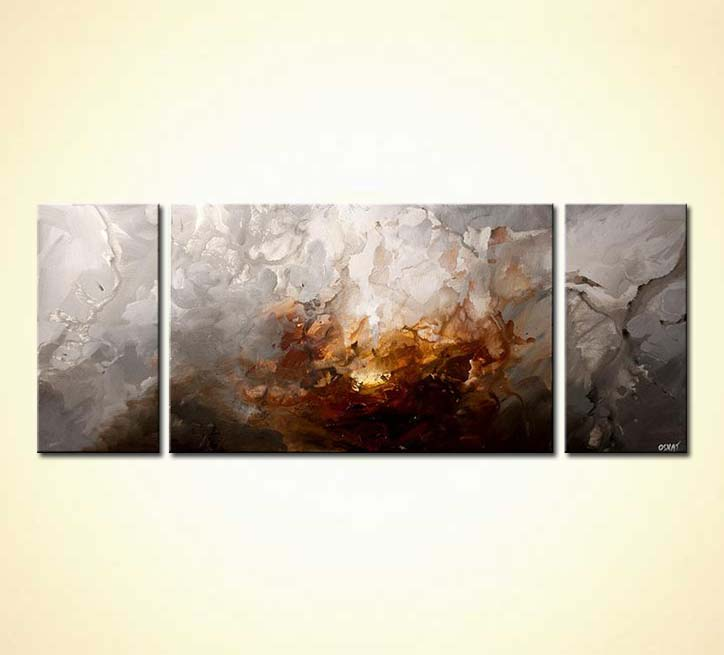 Triptych Modern Home Decor Art. Zoom. Fire And Ice
