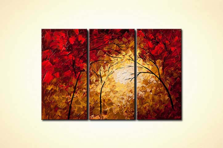 Buy Triptych Of Red Blooming Trees 6054