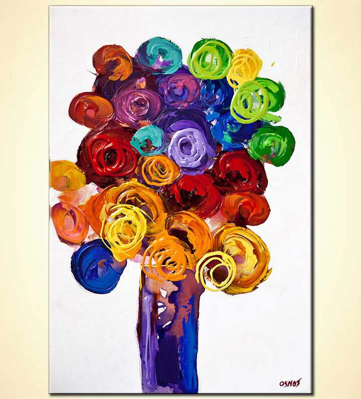 Painting For Sale Vase With Colorful Flowers On White Background 6042