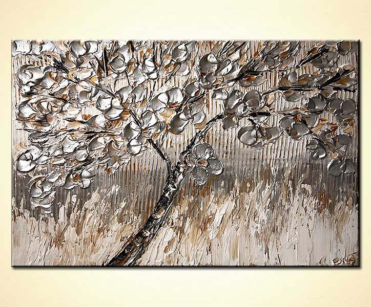 Painting For Sale Tree Painting With Silver Leaves 6099