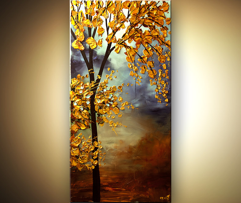 Painting vertical blooming golden tree 6690 for Cuadros verticales grandes