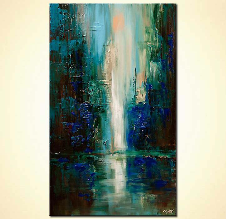 Painting For Sale Vertical Painting Of Cityscape At Dawn