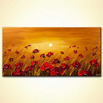 Abstract art by Osnat Tzadok - a field of poppy flowers on a sunrise background