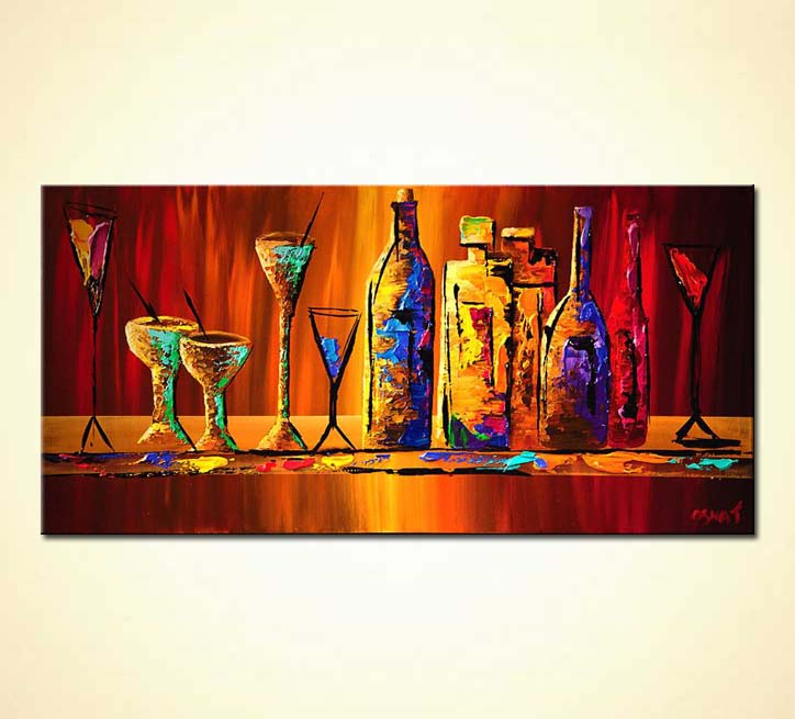 Painting colorful wine bottles and glasses 6125 for Paint vino