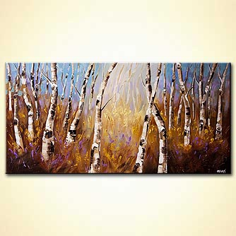 Abstract art by Osnat Tzadok - enchanted forest of birch trees